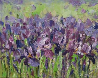 Картина маслом цветы «Ирисы» купить живопись пейзаж Украина