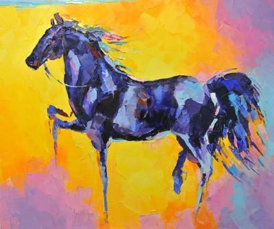 Картина «Конь в синих оттенках»