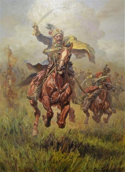 Картина маслом исторический пейзаж «Козацкий отаман» купить живопись для современных интерьеров Киев