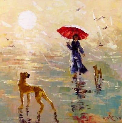 Картина маслом «Летний дождик» - живопись для современных интерьеров Украина