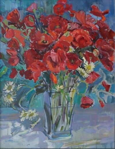 Картина цветы «Летний вечер. Маки» купить живопись для современных интерьеров Украина