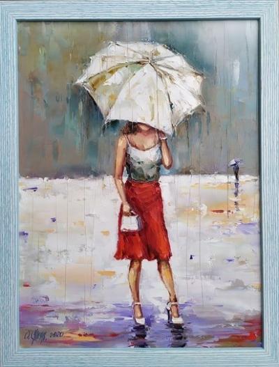 Картина маслом «Летний дождь» купить живопись для современных интерьеров Украина