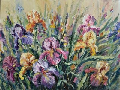 Картина маслом цветы «Лето» купить живопись пейзаж Украина