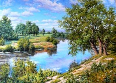 Картина маслом «Летом» живопись для современных интерьеров