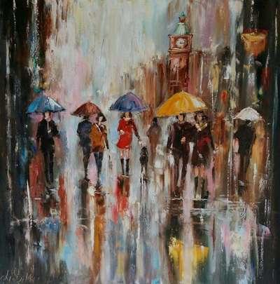 Картина «Лондон. Прогулка под дождем»