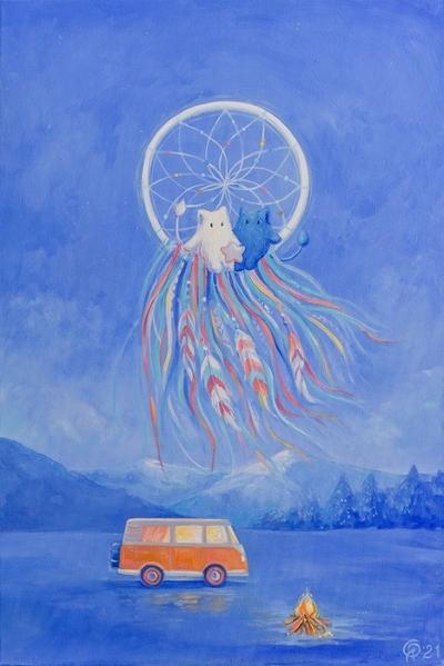 Картина детям «Пухнастики. Лунный ловец снов» купить картину маслом Киев