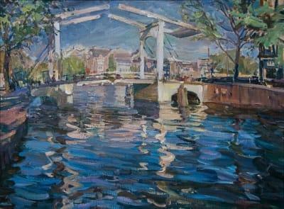 Картина маслом пейзаж «Мост. Амстердам» купить живопись для современных интерьеров Украина
