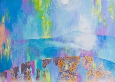 Картина абстракция пейзаж «На кратере. Исландия» купить картину маслом Киев