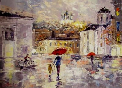 Картина маслом киевский пейзаж «На Подоле. Дождик» - живопись для современных интерьеров Украина