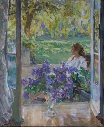 Картина маслом пейзаж «На террасе» купить живопись для современных интерьеров Украина
