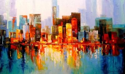Картина маслом «Нью Йорк» - живопись для современных интерьеров Украина