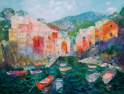 Картина маслом морской пейзаж Италия «Очаровательный Риомаджоре. Италия» купить живопись для современных интерьеров Украина