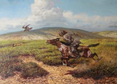 Картина маслом историческая тематика «Охота в степи» купить живопись для современных интерьеров Украина
