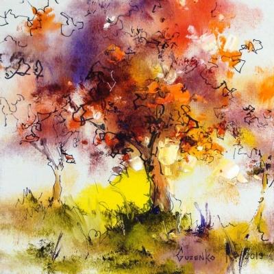 Картина маслом осенний пейзаж «Осень» купить живопись для современных интерьеров Киев