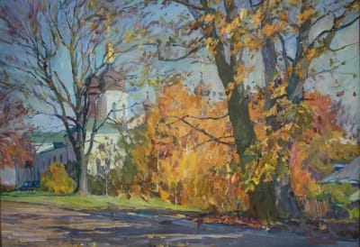 Картина маслом пейзаж «Осень в Ботаническом саду. Киев» купить живопись для современных интерьеров Украина
