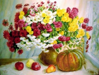 Картина «Букет хризантем с тыквой»