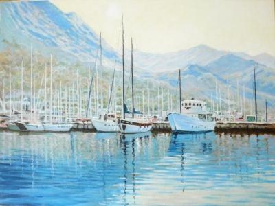Картина маслом морской пейзаж «Пристань» живопись Украина