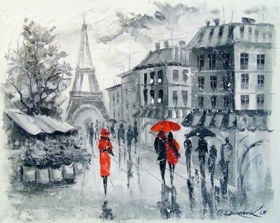 Картина городской пейзаж «Париж» купить живопись для современных интерьеров Украина