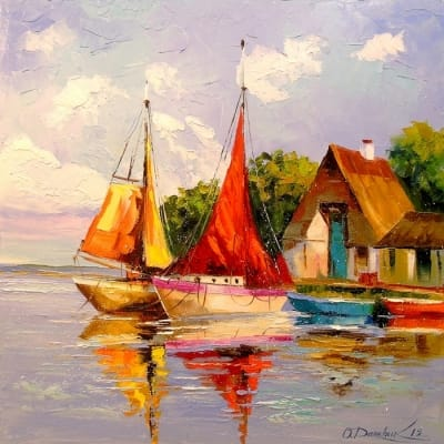 Картина маслом морской пейзаж «Парусники у берега» - живопись для современных интерьеров Украина