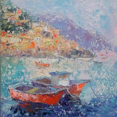 Картина маслом морской пейзаж Италия «Побережье Амальфи. Италия» купить живопись для современных интерьеров Украина
