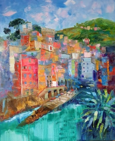 Картина маслом морской пейзаж Италия «Риомаджоре. Италия» купить живопись для современных интерьеров Украина