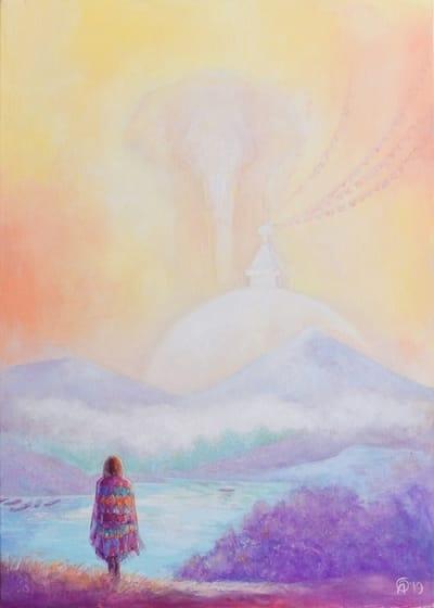 Картина пейзаж «Рассвет среди гор. Непал» купить картину маслом Киев
