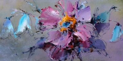 Картина маслом цветы «Розовый цветок» купить живопись для современных интерьеров Киев
