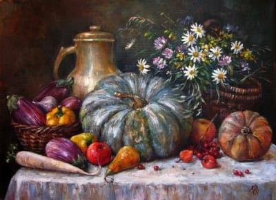 Картина натюрморт «Щедрый август» купить современную живопись для интерьеров Украина