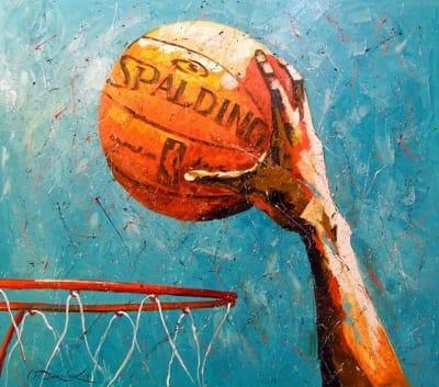 Картина маслом «Слем Данк» купить живопись для современных интерьеров Украина