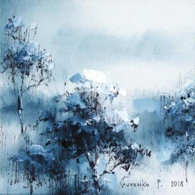 Картина маслом зимний пейзаж «Снег на соснах 1» купить живопись для современных интерьеров Киев