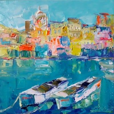 Картина маслом морской пейзаж Италия «Солнечный берег Италии» купить живопись для современных интерьеров Украина