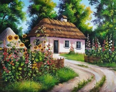 Сельский пейзаж картина маслом «Украинский пейзаж» купить картины Киев