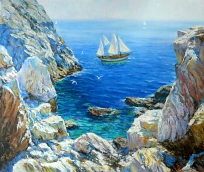 Картина маслом пейзаж море «Среди скал» живопись Украина