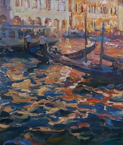 Картина пейзаж «Sunny Venice» купить живопись для современных интерьеров Украина