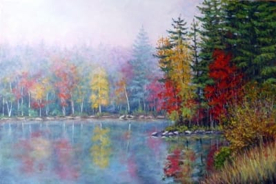 Картина маслом «Туман на озере» живопись для современных интерьеров