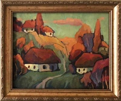 Картина «Украинское село» купить живопись для современных интерьеров Украина пейзаж сельский