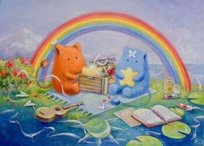 Картина детям «Под радугой наших воспоминаний» купить картину маслом Киев