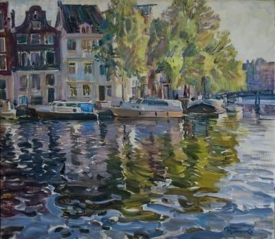 Картина маслом пейзаж «Утро. Амстердам» купить живопись для современных интерьеров Украина