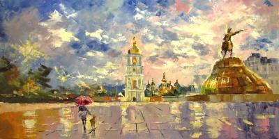 Картина маслом киевский пейзаж «В Киеве дождик» купить живопись для современных интерьеров Украина