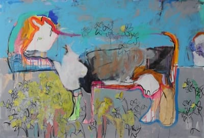 Картина для современных интерьеров абстракция «Весна» купить живопись Киев