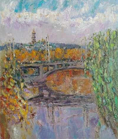 Картина «Вид на Лавру, мост Патона»
