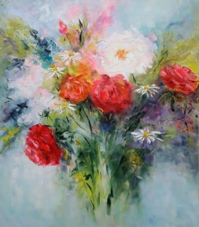 Картина маслом цветы «Вальс цветов» - современная живопись Украина