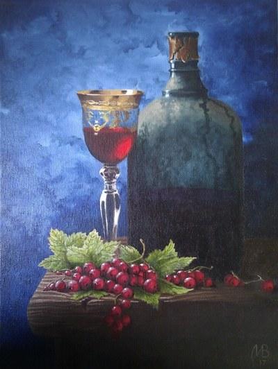 Картина «Натюрморт с вином и смородиной»