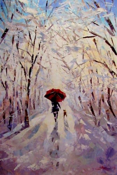 Картина маслом «Зимняя сказка» - живопись для современных интерьеров Украина