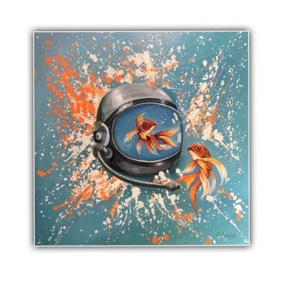 Картина маслом «Рыбки» купить живопись для современных интерьеров Украина