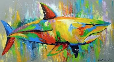 Картина маслом детям «Акула» купить живопись для современных интерьеров Украина