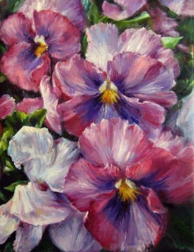 Картина цветы «Анютины глазки» купить живопись для современных интерьеров Украина