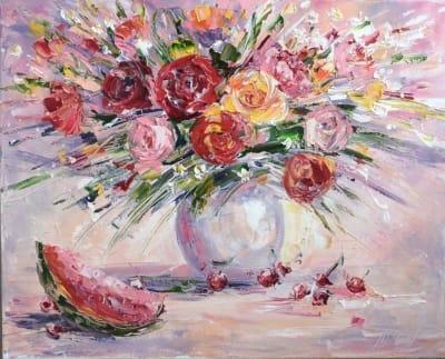 Картина натюрморт с цветами «Арбузное настроение» купить живопись Украина