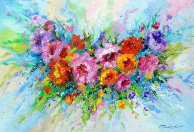 Картина с цветами «Аромат настроения» купить живопись для современных интерьеров Украина