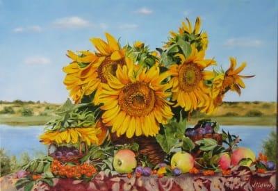 Картина пейзаж цветы «Август» купить живопись для современных интерьеров Украина